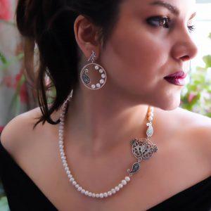 گردن آویز و گوشواره قلم زنی سفارش ساخت ایران